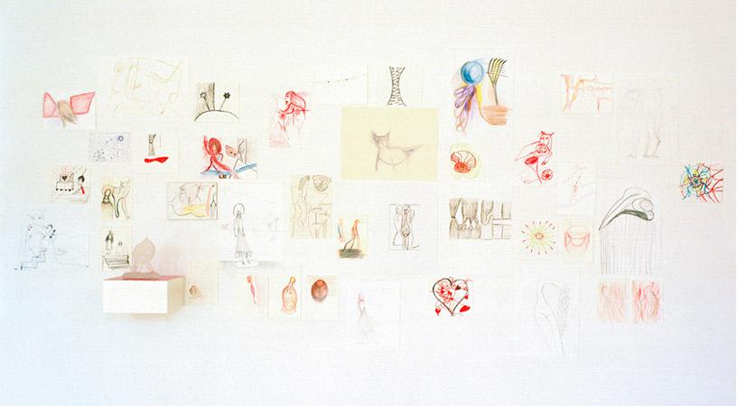Teckningskollage på Galleri 54 i Göteborg
